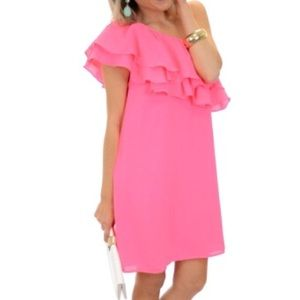Do & Be Bright Pink One Shoulder Ruffle Dress
